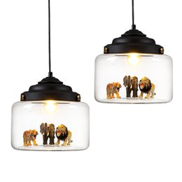 Wholesale save animals for sale – custom Nordic glass Pendant light restaurant bar cafe creative animal models decorative suspension lamp dining room child room lighting