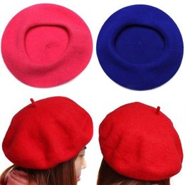 Discount blue felt hat - Women's Soft Warm Wool Classic Berets Felt French Artist Beanies Tam Baggy Hats Ski Caps SL