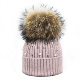 c4a0947d0a7 hat pearls fur 2019 - New Wool Beanies Women Real Natural Fur Pom Poms  Fashion Pearl