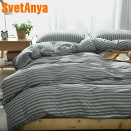 $enCountryForm.capitalKeyWord Australia - Svetanya Knitted Cotton Bedlinen Gray Stripe Design Home Bedding Sets Fitted or Flat Bedsheet Doona Duvet Cover Sets