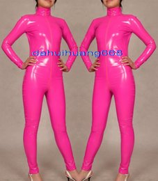 full suit leotard Australia - Sexy Pink Shiny PVC Suit Catsuit Costumes Unisex Shiny Pink PVC Body Suit Unisex Sexy PVC Bodysuit leotard Costumes With Long Zipper DH180