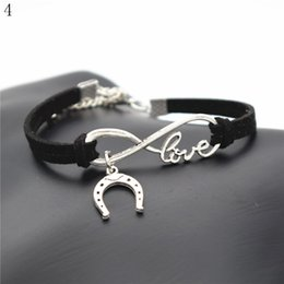 love strings NZ - 2018 Lucky Silver Infinity Love U shaped Horseshoe Bracelet For Women Men Children Black Leather String Cuff Adjustable Handmade DIY Jewelry