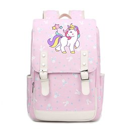 cute colorful bags 2019 - Cartoon unicorn colorful school bags for Students cute backpacks Children for Teenager Girls canvas Teenangers  FT cheap