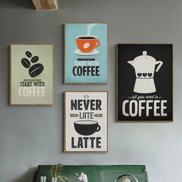 kitchen canvas prints 2019 - Coffee Canvas Painting Print Poster Cafe Modern Art Canvas Painting Wall Pictures for Kitchen Bar Cafe Decor No Frame di