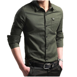 Large Mens Dress Shirts Canada - 2018 Brand Male Shirt Long-Sleeves Tops Slim Casual Solid Color Mens Dress Shirts Slim Camisa Masculina Large Size 4XL