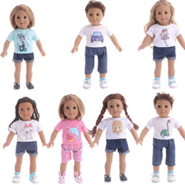 Girl doll suit online shopping - T shirts Pants Shorts Suit for inch American girl Doll