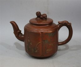 yixing purple teapot UK - Antique collection Folk Art China Yixing Zisha Teapot Hand carved Hand carved Lion cover painting landscape purple teapot Kung Fu teapot Gu
