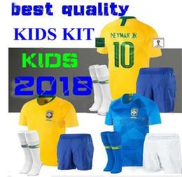 Top Thai Quality Maillot de foot Enfant children 2018 Brazil Camiseta  Equipe Brasil kids football kit Bresil Soccer Jersey socks 751a7881c