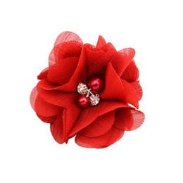 Girls hair rosettes online shopping - 5 cm Pearl Chiffon Flowers High Quality Rosette Flowers Bouquet Newborn Hair Accessories Hairclip For Baby Girl Cute Hair Barrettes