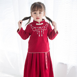 Wholesale chinese clothes skirts for sale - Group buy Chinese Style Baby Girls Clothes Sets Retro Students Outfits Chinese New Year Suits Costumes Baby Girls Sweet Cheongsam Pleated Skirt