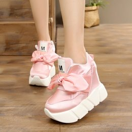 $enCountryForm.capitalKeyWord Canada - Pink Bow Tie Satin High Heel Wedge Sneakers Designer Black Bow Wedge High Heel Sneaker Shoes Height Increasing Wedge Bowtie Sneakers