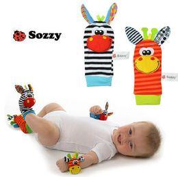 Colorful Infant Socks Australia - TOP Sale A Pair 2pcs set Wrist Rattle Foot Socks colorful Infant Baby Developmental Toy 0+ month Plush Newborn Baby Rattle Soft