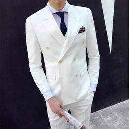 Gold Grey tuxedo online shopping - White Terno Tuxedos Masculino Bespoke Men Suits Slim Notch Lapel Latest Design Custom Made Blazer pieces Jacket Pant Tie