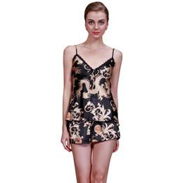 Wholesale- G34 Women Sexy Satin Silk V-neck Lace Pyjamas Sleepwear Pajamas  Tops Pants Sets Hot b9a6a4b7c