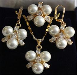 $enCountryForm.capitalKeyWord Australia - Rare 8mm WHITE South Sea Shell Pearl Earrings Ring & Necklace Pendant Jewel Set