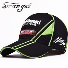 Red White Kawasaki Canada - SMANGET MOTO GP Kawasaki 76 Motorcycle Baseball Cap 3D Motocard Letters Embroidered Hats Ninja 76 Racing Hats Rossi Sports Caps