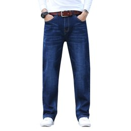 92ab8d8abc6 Mens Plus Size 30-44 Big Dark Blue Relax Elastic Waist Ankle Jeans Big and Tall  Man Casual Stretch Jeans LOOSE FIT JEAN