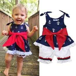 baby clothes factories UK - Baby girl anchor navy tops+white shorts 2pcs set outfit red bowknot ruffles clothes comfy summer baby girls clothing wholesale factory Dress