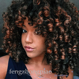 afro hair wigs for african woman 2019 - FZP Afro Wig Synthetic Kinky Curly Wig for Women Dark Brown Curly Hair with Bangs African Short Wig for Black Women chea