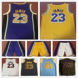 2018 2019 New Season  23 LeBron James Jersey Stitched Purple White Yellow  Basketball Shorts Mens Black City Edition LeBron James Jersey mens lebron  jersey ... 7832e1a99