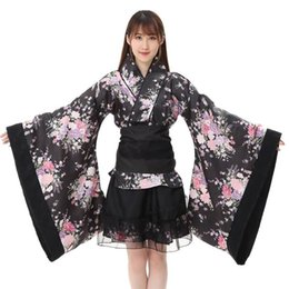 Discount maid kimono cosplay - Women Female Cosplay Set Festival Cosplay Lolita Japan Kimono Floral Maid Bow Skirt Set For Female #20