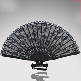Round lace caRved online shopping - Black Antiquity Cheongsam Real Silk Lace Fold Fans Hand Round Fan Dance Wedding Favors For Guest Gifts Arts And Crafts15mg ff