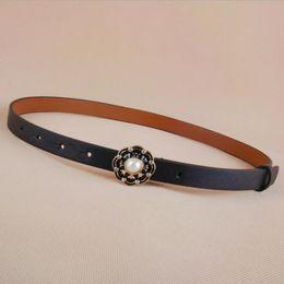 Discount enamel belt buckles - High Quality Leather Slim Belt small Fashion Women Skinny Leather Waist Strap Brown Black Thin Belts enamel flower pearl