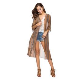 801b44d42 Women's Blouses Half Sleeve Long Vintage Tribal Chiffon Kimono Jacket Shirt  Cardigan Summer Beach Loose Bikini Outwear Y8