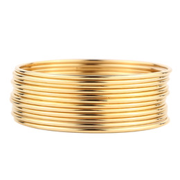 $enCountryForm.capitalKeyWord UK - 316L Stainless Steel Pack of 12 Piece Gold Color Bangle Set For Women Wholesale Mixed Lots Jewellery Gift for Women