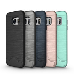 Hard Casing Card Holder Australia - hot mobile cell phone Luxury holder Kickstand Shockproof hard Wallet protect cover Brushed Card case for samsung galaxy s7