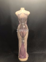 See Through Prom Dresses Rhinestones NZ - Sparkly Purple Rhinestones Mesh Long Dress Women's Birthday Party Dress Evening Dance Outfit See Through Prom Celebrate Dresses