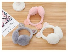 pink earmuffs UK - Winter fashion cute cartoon cat ears shiny earmuffs warm earmuffs
