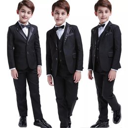 Navy Suit Gold Tie NZ - High Quality Two Buttons Boys Full Black Clothing Sets Five Pieces (Jacket+Pant+Vest+Bow Tie+Strip) Wedding Formal Suits For Children
