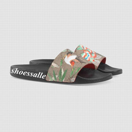 Sole flip flopS menS online shopping - 2018 mens and womens bird flower print tian slide sandals flip flops with rubber sole size euro
