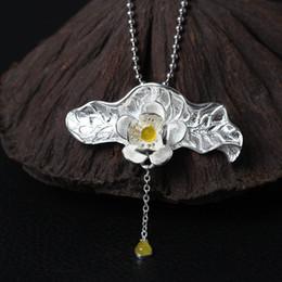 $enCountryForm.capitalKeyWord NZ - Fashion charm original design 925 sterling silver Retro natural yellow jade pendant Lotus Flower Necklace hip hop jewelry mystic topaz