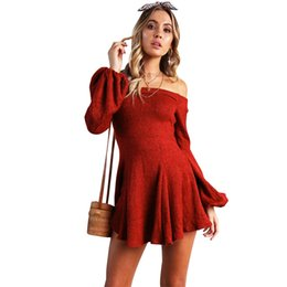 fea7dd82e680 2019 New Women Sexy Knitted Dress Slash Neck Off the Shoulder Dress Lantern  Sleeve Pleated High Waist Elegant Party Swing Dress