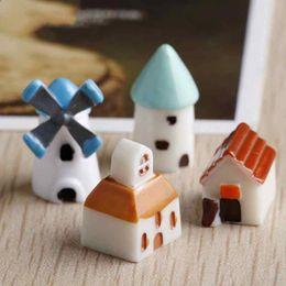 Small House Decoration Australia - Miniature Windmill Small House Church Mini Castle DIY Material Resin Craft Moss Micro Landscape Accessories Plant Pot Garden Decoration