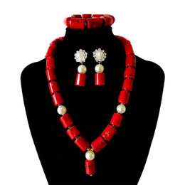 Coral Beads China Australia - Red Coral Jewelry Sets for Women Fantastic Red and Gold African Wedding Gift Coral Bead Necklace Earrings Set for Brides
