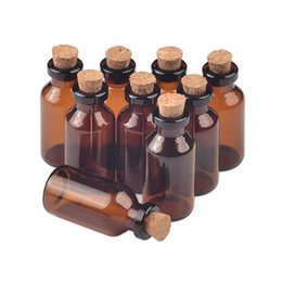 Discount wholesale small perfume vials - 18X40X7 mm 5ml Empty Small Glass Bottles With Corks Mini Amber Glass Perfume Vials Pendants Wedding Gifts Jars brown 100