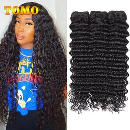 best quality remy hair weave UK - TOMO Peruvian deep Wave Unprocessed Human Virgin Hair Weaves 8A Best Quality Remy Human Hair Extensions Dyeable For Black Woman 3pcs lot