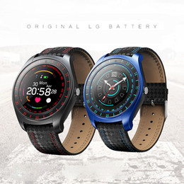 Bluetooth Smart Watch Sim Australia - V10 Smart Watch Men with Camera Bluetooth Smartwatch Pedometer Heart Rate Monitor Sim Card Wristwatch STY088