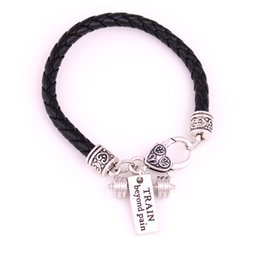 China New Fashion White Black Leather Chain Weight Lifting Fitness Dumbell Charm TRAIN Beyond Pain Pendent Bracelet suppliers