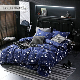 Discount elegant queen size bedding sets - Liv_Ethete Fashion Star Blue Bedding Set Elegant Duvet Cover Active Printing Bed Linen Twin Full Queen King Size Bedspre