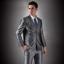 (Veste + Gilet + Pantalon) Hommes d affaires simples Breasted Groom Costumes  Hot Sale Pas Cher Nouvelle Marque Tuxedo Formelles Robes De Mariée 841d4c13cf8