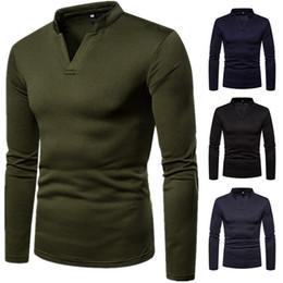Wholesale mens long v neck t shirts online – design New Brands V Neck Shirts for Men Solid Color Sweatshirts Long Sleeve Fashion Shirts Cotton Plus Velvet Sweater Mens Shirt Polo T Shirts