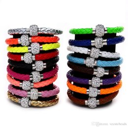Porcelain Prices NZ - Fashion Women bracelets Crystal Bracelet Leather Wrap Wristband Cuff Punk Magnetic Rhinestone Buckle Bracelet Bangle ID Chain Cheap Price