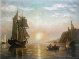 $enCountryForm.capitalKeyWord Australia - Boats A Sunset Calm in the Bay of Fundy William Bradford Handpainted & HD Print Seascape Art Oil painting On Canvas,Home Deco l212