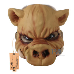 Discount pig costumes - H&D New Adult Scary Face Horror Halloween Animal Party Pig Mask Costume Halloween Funny Cosplay Props (Half Face)