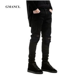a62eaf6bbabd0 New Men Black Ripped Skinny Jeans Hip Hop swag Denim Scratched Biker Jeans  Joggers pants Famous Brand Designer Men Trousers