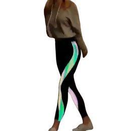 $enCountryForm.capitalKeyWord UK - Laamei Reflective Rainbow Leggings Women High Waist 2018 Bottoms Femme Striped Printed Leggin Summer Autumn 2018 New